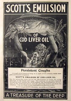 ☞ MD ☆☆☆ 1897 Scott's Emulsion Ad ~ Poseidon Holds Cod Fish. See 1888 Ad.: https://www.pinterest.com/pin/287386019942745588/