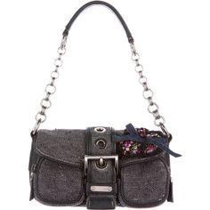 Pre-owned Prada Jeweled Tweed Baguette ($375) ❤ liked on Polyvore featuring bags, handbags, clutches, silver, floral purse, prada clutches, buckle purses, hand bags and man bag