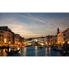 Sunset Venice print, Fine Art Photography, Rialto bridge at night,... ($22) ❤ liked on Polyvore featuring home, home decor, wall art, bridge wall art and photography wall art