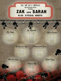 My musical theatre wedding seating plan!hopeyoucanmak… My musical theatre wedding seating plan! Broadway Wedding, Theatre Wedding, Wedding Movies, Wedding Music, Broadway Theme, Deco Theme Cinema, Seating Plan Wedding, Seating Plans, Wedding Table