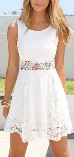 Nice summer dress! Sexy Sleeveless Lace Patchwork Hollow Out Short White Dress for teens or active women!  http://www.cutedresses.co/go/Sexy-Sleeveless-Lace-Short-Dress