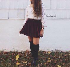 White lace top, burgundy velvet skirt, black knee-high socks, and black booties