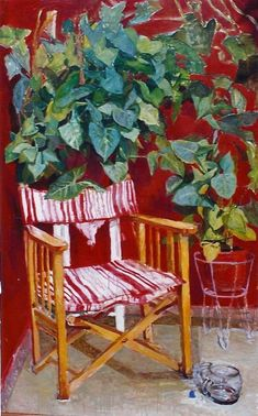 chair with plant - Papoulia Smaragda Greek Paintings, Mediterranean Art, Painter Artist, 10 Picture, Greek Art, House Inside, Map Design, Painting Lessons, Stage Design