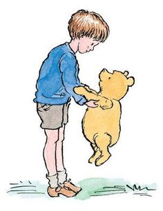 He stopped to give Pooh a hug. It was a bit awkward, because Christopher Robin was quite tall these days, but Pooh hugged him back as best he could.