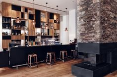 Hotel Mera Brasserie by LOFT Magdalena Adamus // Sopot, Poland. Love the look of the fireplace! Bar Interior, Restaurant Interior Design, Copper Interior, Cafe Bar, Commercial Design, Commercial Interiors, Restaurants, Hotel Restaurant, Bar Lounge