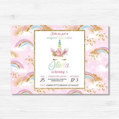 Unicorn Themed Birthday Invitation - Pink