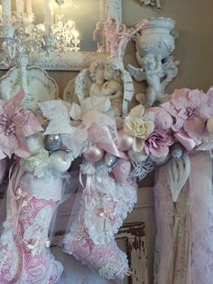 Pink Christmas lots of lace and bows