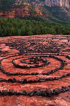 Ceremonial spiral on Schnebly Hill Road, Sedona, AZ.