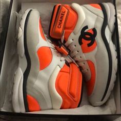 b63e4c960 🔶⚪️Chanel sneakers White fluo orange sneakers rare and hard to find Worn  once super comfy Size 37 Comes with box and dust bag There is a mark up for  the ...