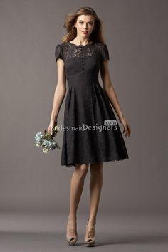 antique short sleeve crew neck knee length a-line black lace bridesmaid  dress.US ec75ac115c50
