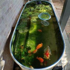 37 Creative Small Fish Pond Design Ideas To Beautify Your Outdoor Decor Patio Pond, Ponds Backyard, Koi Ponds, Backyard Waterfalls, Garden Ponds, Garden Stakes, Garden Landscaping, Small Fish Pond, Outdoor Ponds