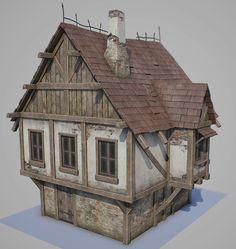 Medieval tudor house, Oleg Tsitovich on ArtStation at https://www.artstation.com/artwork/K24kW