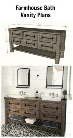 This Solid Wood, Rustic Farmhouse Style Double Bath Vanity Features Roomy  Drawer(s) And An Open Bottom Shelf. Could Also Be Used As A Dresser,  Console, ...