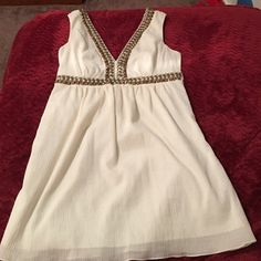 Tibi Greek goddess dress This is an amazing dress for such a good deal. There is beautiful metal beaded and stitching work. I only wore it one time for graduation. There is a slip underneath built in. Open back with a tie at the top. Tibi Dresses
