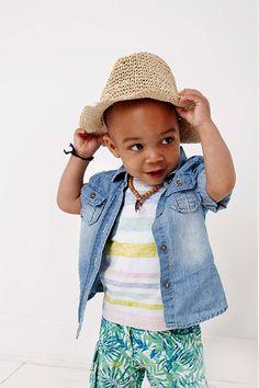 Babykleding jongens stoere denim overhemd | Love the summer look | www.kienk.nl
