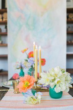 spring wedding centerpiece - photo by Alexis June Photography http://ruffledblog.com/watercolor-whiskey-brunch-wedding #centerpieces #weddingideas
