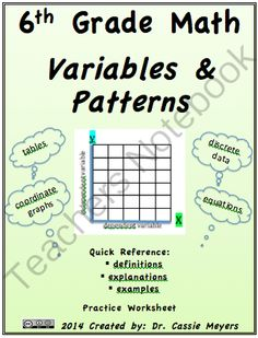 Grade Variables & Patterns Quick Reference and Practice 7th Grade Math, Eighth Grade, Teacher Notebook, Variables, Math Resources, Mathematics, Middle School, Worksheets, Homeschool