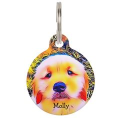 Vibrant Golden Retriever Puppy Psychedelic Art Pet ID Tag - dog puppy dogs doggy pup hound love pet best friend Pet Name Tags, Pet Id Tags, Dog Tags, Dogs Golden Retriever, Retriever Puppy, Psychedelic Colors, Custom Pet Tags, Beagle Puppy, Cute Dogs And Puppies