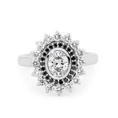 White diamonds and black diamonds - statement ring