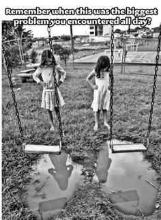 To be young again ! I distinctly remember stretching my leg out to stand up on the swing, getting a wet behind from the soaked canvas, and avoiding the puddle while swinging my feet to get started!