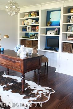 Home office with DIY capiz shell chandelier at View Along the Way. (Come see the whole house tour!)