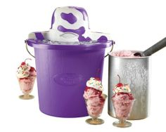 The Nostalgia Electrics ICMP400PURPLE 4-quart purple Cow Bucket Electric Ice Cream Maker provides a homemade ice cream experience with modern convenience. Simply place the aluminum