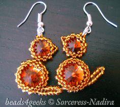 Beads4Geeks: Swarovski rivoli crystals wrapped in Toho beads.