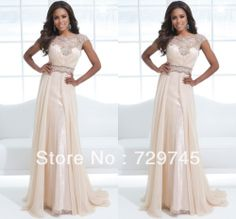 2014 New Sexy Sequin Beading A Line Scoop Floor Length  Maxi Dress Prom Dress Modest Bridesmaid Dresses With Sleeves  $149.99