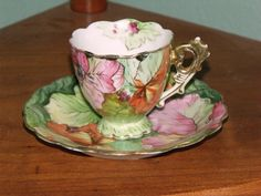 Occupied Japan Cup and Saucer. I have a small tea cup stamped the same. China Cups And Saucers, China Tea Cups, Teapots And Cups, Teacups, Cup And Saucer Set, Tea Cup Saucer, Vintage China, Vintage Tea, Antique Tea Cups