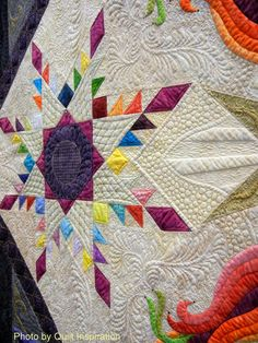 close up, Rainbow Nouveau by Margaret Solomon Gunn.  2014 Road to California, photo by Quilt Inspiration