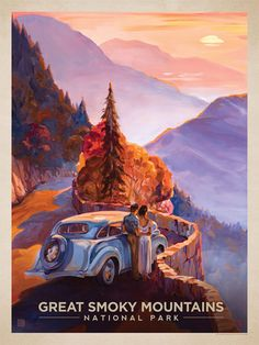 Great Smoky Mountains National Park: Smoky Sunset - Anderson Design Group has created an award-winning series of classic travel posters that celebrates the history and charm of America's greatest cities and national parks. Founder Joel Anderson directs a team of talented artists to keep the collection growing. This oil painting by Kai Carpenter celebrates the majestic beauty of Great Smoky Mountains National Park.<br />