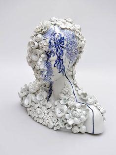 blue - withe - head - ceramic - Sculpture - Juliette Clovis