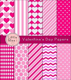 Valentine's Day Digital Paper Set contains 20 different designs featuring dots, hearts, vertical and slanted stripes, chevron pattern, and argon (diamond-shaped) pattern (only 10 are pictured for thumbnail). These papers are perfect for classroom materials, binder and folder covers, party invitations, scrapbooking, cards, and crafts. • Colors used: Light pink, dark pink, magenta, deep pink, and white.