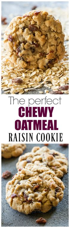 The Best Chewy Oatmeal Raisin Cookies perfect texture full of oats raisins and nuts. the-girl-who-ate- - Chewy Candy - Ideas of Chewy Candy Köstliche Desserts, Delicious Desserts, Dessert Recipes, Yummy Food, Tasty, Tea Cakes, Cookies Et Biscuits, Baking Cookies, Christmas Baking