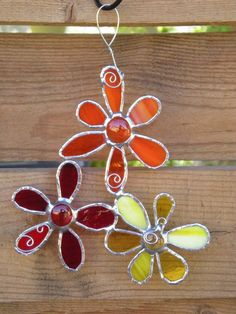 Stained Glass Flowers- Orange- Red - Yellow- Suncatcher