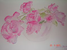 Pink Roses Still Life - Original Watercolour Painting, vase of flowers