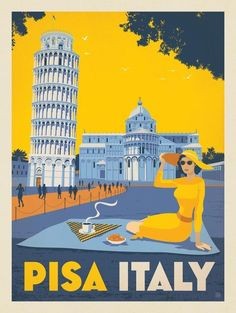 Vintage Travel Giclee Print: Italy Pisa by Anderson Design Group : - Retro Poster, Vintage Travel Posters, Vintage Postcards, Vintage Ads, Vintage Italy, Vintage Looks, Pisa Italy, Italy Italy, Italy Map