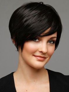 Always a go to chic crop cut w/side bang (layered high bob with side bang)