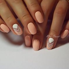 Peach and white with negative space nail art