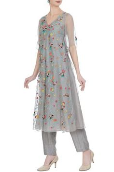 Shop Rimzim Dadu Bird motif embroidered organza dress , Exclusive Indian Designer Latest Collections Available at Aza Fashions Indian Long Dress, Indian Dresses, Indian Outfits, Indian Wear, Angrakha Style, Organza Dress, Designer Dresses, Salwar Kameez, Kurti