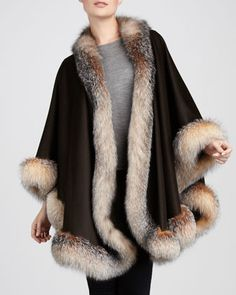 Fox Fur-Trimmed Cashmere U-Cape, Chocolate by Sofia Cashmere at Neiman Marcus.