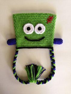 Crocheted Frankenstein Halloween Hat by BecauseILove2 on Etsy