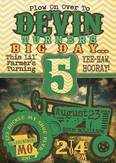 Farm/Tractor/John Deere Birthday Invitation- DIgital File by southernbellavita on Etsy https://www.etsy.com/listing/161761655/farmtractorjohn-deere-birthday