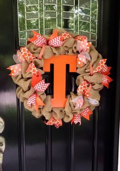 Orange and White University of Tennessee Volunteers Vols inspired Burlap and Ribbon Wreath - Chevron & Polka Dots www.etsy.com/shop/simplyblessedgift