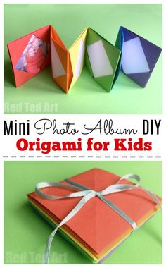Mini Origami Photo Album - Accordion Photo Book. This is a super easy and fun little paper craft - keep your favourite holiday snaps or photos of your BFFs in this fun and colourful rainbow photo album made entirely from paper. Love origami for beginners! #Photoalbum #DIY #Crafts #Paper #Origami