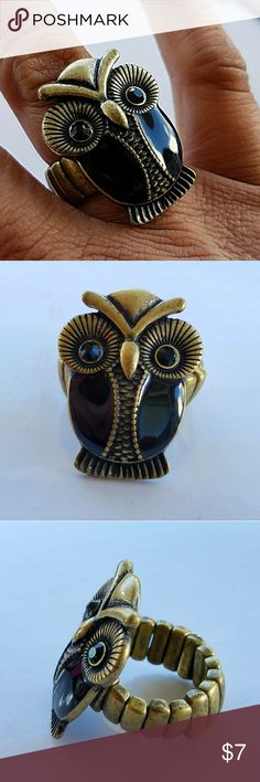 "Antiqued Brass Black Crystal Owl Stretch Ring If you're an owl lover, this ring is a must! Antiqued brass with black crystal eyes. 1"" tall and about 3/4"" wide  R971 Jesi's Fashionz Jewelry Rings"