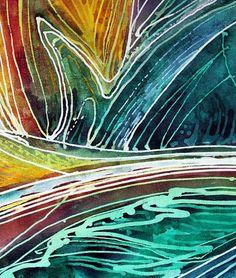 """Bird of Paradise Abstract Batik (detail 1)"" par Marcia Baldwin"