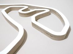 Autodromo Jose Carlos Pace Sao Paulo F1 Racing Track Wall Art Sculpture Close Up of Juncao Corner in a White Finish