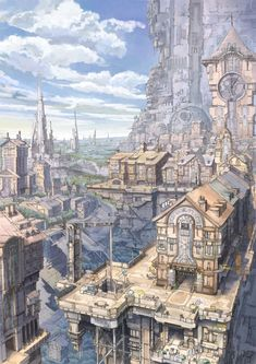 Landscape of anime illustration Fantasy City, Fantasy Places, Fantasy World, Illustration Fantasy, City Illustration, Landscape Illustration, Art Illustrations, Pixiv Fantasia, Fantasy Setting