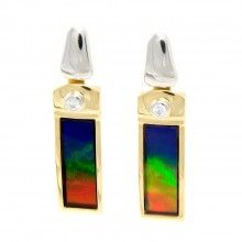 Ammolite and diamond earrings. The red makes the stone more valuable. Love this stone!!
